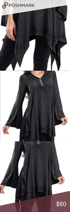 NEW Embroidery Split Sleeve Handkerchief Hem Top Collection piece! Embroidered front, hemline. Slit bell sleeves. Year around Must Have Blouse! Other colors in my closet. 8120 boho hippie gypsy Romantic Goth Fairy Stevie Nicks Style Reinactor AltGothFash Renni festival punk steampunk renaissance Tops