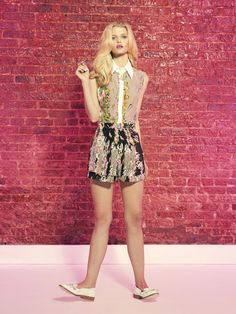 Hunter Bell Ace Print Birdie Blouse with White Collar and Silk Ace Print Tap Shorts Summer 2012
