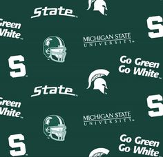 Michigan State Spartans Collegiate Cotton Fabric 1 Yard Sports Team 100% Cotton