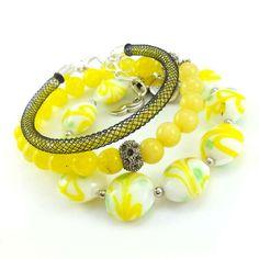 Potrójny zestaw bransoletki kamienie żółty jadeit i szkło weneckie