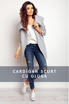 Cardigan scurt cu gluga si fermoar! Cardigan Outfits, Magazine, Elegant, Tricot, Classy, Magazines, Chic, Warehouse, Newspaper