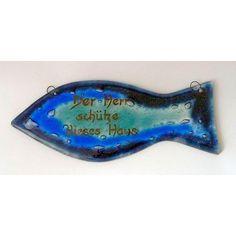 Schild mit #Haussegen aus #Glas mit dem #christlichen Motiv vom #Fisch (#Ichthys)