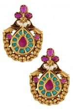 158  Tribebyamrapali-Silver Gold Plated Antique Pear Turquoise Earrings