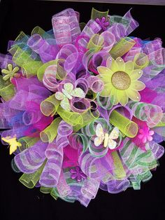 Spring Easter Spiral Deco Mesh Wreath