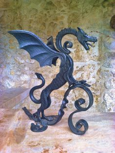 Forged Dragon sculpture by ArtisticCastleForge on Etsy