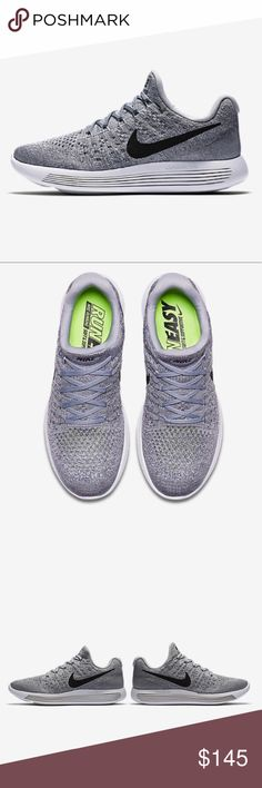 NIKE LunarEpic Low Flyknit 2 Running Shoe Women's Size 7. Brand new with original packaging. Updated slip-on design for snug, seamless fit. Luxurious cushioning and targeted support. Color wolf gray / cool gray / pure platinum / Black. MSRP $174. Nike Shoes Athletic Shoes