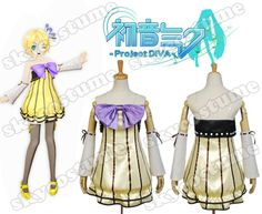 rin kagamine project diva | Vocaloid Project DIVA-f Rin Dress Cosplay Costume from Vocaloid