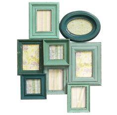 Cadre pêle-mêle 8 photos en bois vert Memory Nordal