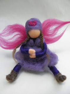 ...felt fairy - love the beanie and plaits!