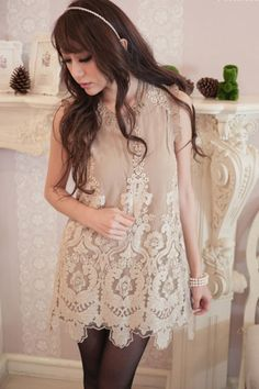 Lace Cuffs Embroidered Tank Dress  $41.99