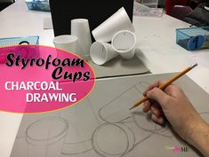 Styrofoam Cup Charcoal Drawing Still Life - Create Art with ME