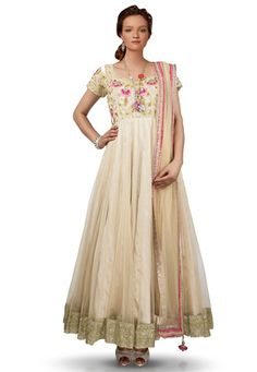 Embroidered Net and Art Silk Abaya Style Suit in Beige Abaya Fashion, Bridesmaid Dresses, Wedding Dresses, Abaya Style, Sari, Beige, Suits, Formal Dresses, Stylish