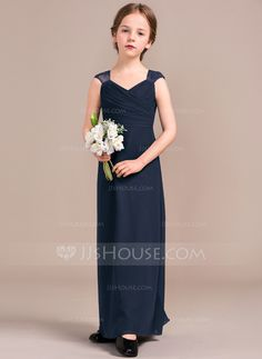 Sheath/Column V-neck Floor-Length Ruffle Zipper Up Covered Button Cap Straps Sleeveless No Regency General Chiffon Junior Bridesmaid Dress