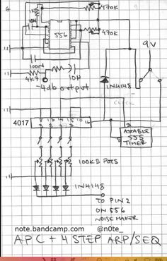 Atari Punk Console based on the Forrest M. Mims III schematic with the addition of a 4017 for a sequence and a 555 as clock. iPod packaging for a case. Dc Circuit, Simple Circuit, Electronics Basics, Electronics Projects, Electrical Circuit Diagram, Robotic Automation, Electronic Circuit Projects, Science Toys, Arduino
