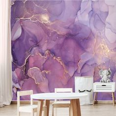 Peel and Stick Purple Gold Abstract Watercolor Wallpaper Mural Removable Large Wall Mural Self Adhesive Custom Vinyl Wallpaper Accent Wall Vinyl Wallpaper, Wallpaper Stores, Watercolor Wallpaper, Purple Wallpaper, Abstract Watercolor, Watercolor Walls, Office Wallpaper, Unique Wallpaper, Purple Accent Walls