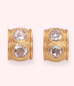 A PAIR OF DIAMOND AND GOLD EAR CLIPS, BY SUZANNE BELPERRON  Each designed with two rose-cut diamonds within a textured gold curved rectangular surround, circa 1960, 2.1 cm long, with French assay mark for gold By Suzanne Belperron