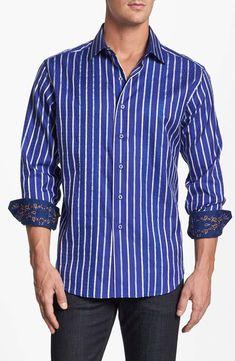 NWT Bogosse men/'s short sleeve casual button down shirt,geometric double pocke,
