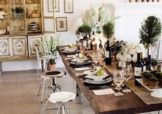 LOVE this table setting with burlap and rosemary