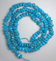 "Sleeping Beauty Turquoise Loose  Natural Blue Pebble Beads 18"" Strand Lot #10 #Erthart #Southwest"