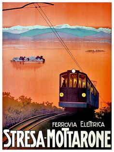 Art Italy Travel Poster Cable Car Print Vintage by Blivingstons