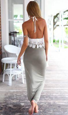 Irregular Lace Halter Split Beach Dress