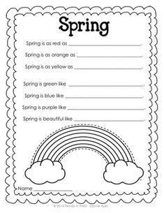 SEASONAL SIMILES - TeachersPayTeachers.com Seasonal simile writing activities to display in your classroom! $2.50