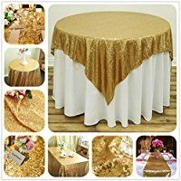 SoarDream Gold Sequin Tablecloth 50 inch Round Glitter Wedding Sequin Tablecloth