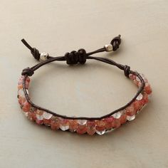"""MI AMORE BRACELET--Labradorite, moonstone and sunstone interweave in a sweetheart palette bound up in leather cord. A handcrafted exclusive with macramé slide closure. 5-1/2"""" to 7-1/2""""L."""