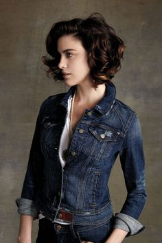 Pilcro Avie Denim Jacket - anthropologie.com - and fabulous hair! Serious question: why did I get rid of my denim jacket back in high school??
