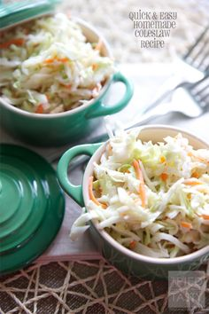 Quick & Easy Homemade Coleslaw Recipe // Great for any potluck, family party, gathering, or BBQ. This coleslaw is wonderfully delicious! If you like KFC, you'll love this recipe - it's better in more ways than one! | Tried and Tasty