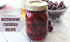 Moonshine cherries, also called cherry bombs and spiked cherries are a great adult snack, or wonderful for dressing up a cocktail or dessert. This easy recipe can be stored in your refrigerator, or canned for shelf stable storage. These moonshine cherries also make wonderful gifts. Make some moonshi