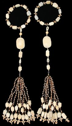 BEADED TASSELS  Egyptian Carved Wood Scarabs   by GMBDesignsCustom, $49.00