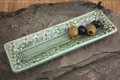 Olive or Jewelry Tray in Green with Flower Handmade by SpectorPottery @ Etsy $29.50
