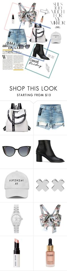 """""""She's too much for my mirror"""" by liv-emily ❤ liked on Polyvore featuring Rika, Unravel, Fendi, Casadei, Witchery, Rolex, Zimmermann, Bobbi Brown Cosmetics and Eloise"""