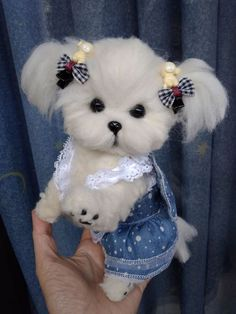 OOAK Needle Felted Maltese puppy/dog This needle felted puppy can flex and move much like a real dog/ wire skeleton /. All Sculptures are crafted using the art of Needle Felting. Cute Baby Dogs, Baby Animals Super Cute, Cute Little Puppies, Cute Little Animals, Cute Dogs And Puppies, Cute Funny Animals, Cute Cats, Cute Babies, Tiny Puppies