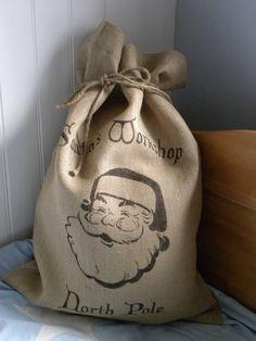 Burlap Santa Christmas present sack by TheNestUK on Etsy, $29.50