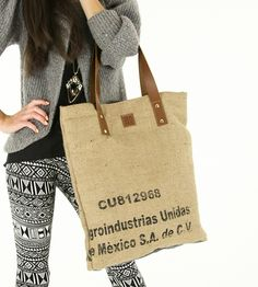 Salento Coffee Sack Tote by Bare on Scoutmob Shoppe. Let this reversible recycled burlap coffee sack suit your whimsy with it's large inner zip pocket and handcrafted charm.