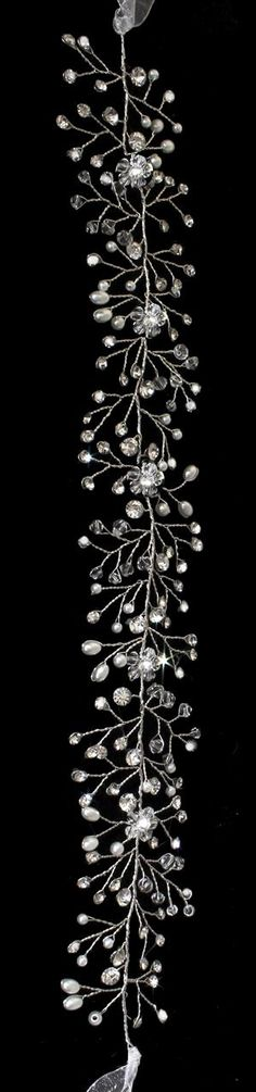 Lovely Hand-Wired Pearl, Crystal  and Rhinestone Hair Vine Wedding Headband - Affordable Elegance Bridal -