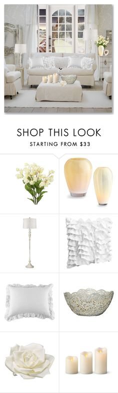 """Living Room - Soft White"" by lidia-solymosi ❤ liked on Polyvore featuring interior, interiors, interior design, home, home decor, interior decorating, Cyan Design, Universal Lighting and Decor, Pom Pom at Home and Bradburn Gallery"