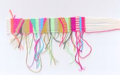 Love this weaving -- could set something up on your own for weaving with a frame and some tacking pins.