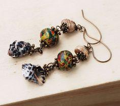 Sea Shell Picture Jasper Polymer Clay Wire Wrap Assemblage Earrings #Jeanninehandmade #Wrap