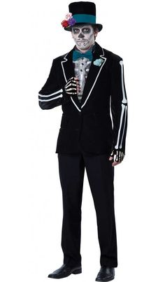 <p>This dearly departed groom will live on when you take on his visage to celebrate the Día de Muertos! Look macabre and elegant in this handsome <strong>men's Day of the Dead costume </strong>by California Costumes, perfect for shaking those bones at your next Mexican or Halloween fancy dress party! See below for full description and size details.</p>