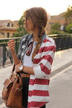 USA flag shirt with white tank and black jeans