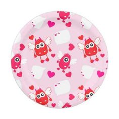 Red pink heart valentine cute monster love gift pouf individual red pink heart valentine cute monster love gift paper plate kitchen gifts diy ideas decor solutioingenieria Choice Image