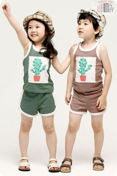 Cactus Tank and Shorts Set for unisex kids fashion at colormewhimsy