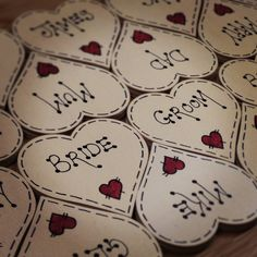 Personalised Wedding table place setting / Favours by PebbleChic, £2.50