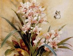 Предпросмотр схемы вышивки «Нежные орхидеи и бабочка»