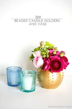 Loving these DIY beaded candle holders and vase! Perfect for stylish #entertaining !