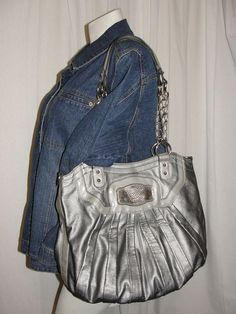 Kathy Van Zeeland Purse Handbag Gray Two Strap Shoulder Bag Messenger Crossbody #KathyVanZeeland #ShoulderBag