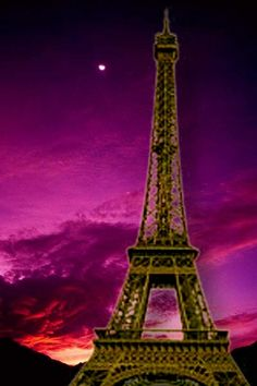 Something like this for art class!....pink purple and orange background with silhouette of Eiffel tower